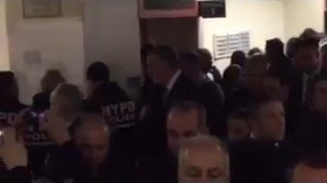 Cops turn their backs on visiting Mayor de Blasio at  Woodhull Hospital. Captured by WPIX11 News.